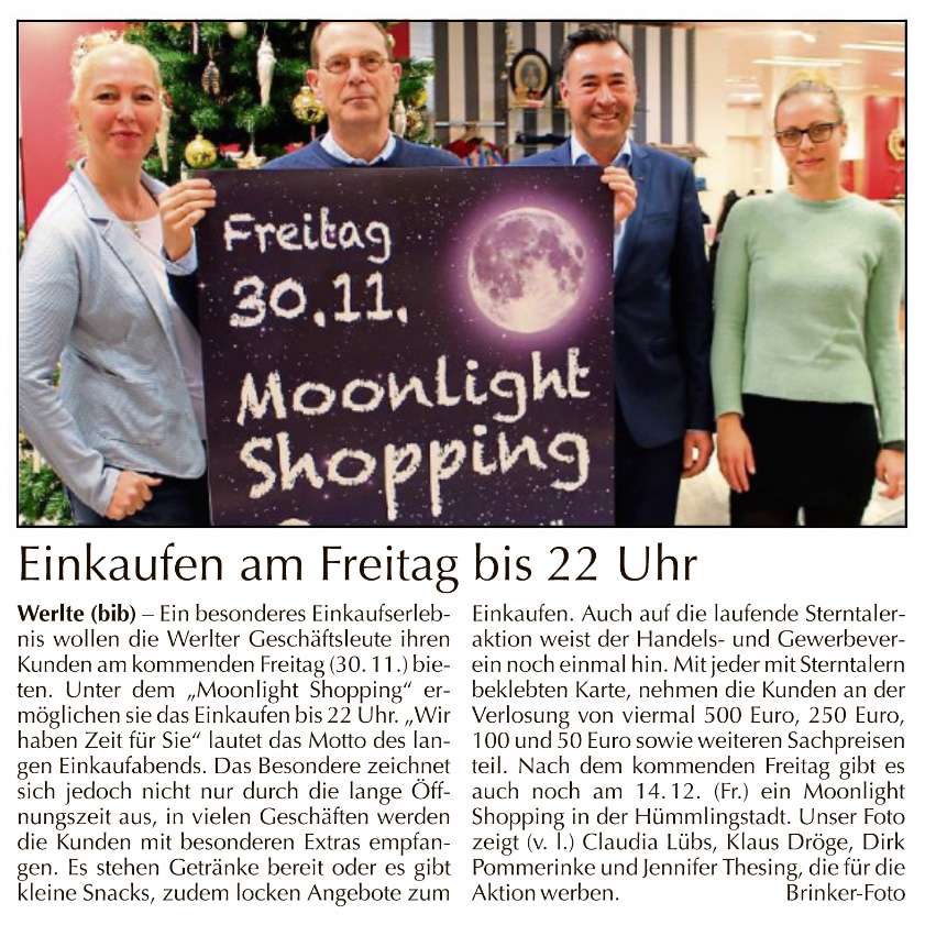 Moonlight Shopping am 30.11.2018